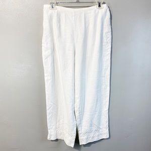 Norton McNaughton Women's White Linen Cropped Pant